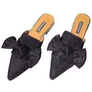 ✖️POINTY MULE  SATINY BLACK BOW WOMANS FLAT SHOE